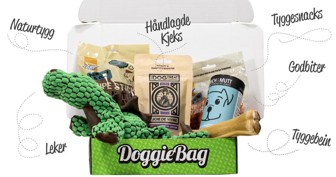 DoggieBag kan inneholde mange forskjellige typer produkter til hund