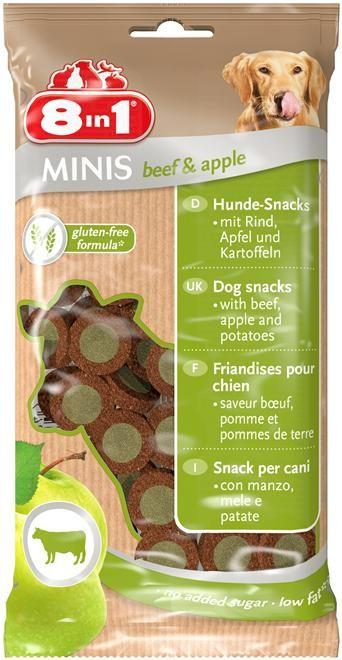 8in1 Minis Biff & Eple, Stort utvalg Godbiter og Snacks til Hunder