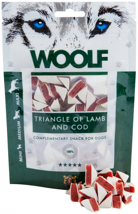 Woolf Trekanter av Lam og Torsk, Stort utvalg Godbiter og Snacks til Hunder