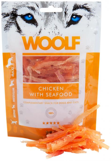 Woolf Kyllingstrips med Skalldyrsmak, Stort utvalg Godbiter og Snacks til Hunder