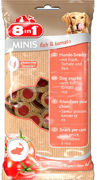 8in1 Minis Fisk & Tomat, Stort utvalg Godbiter og Snacks til Hunder