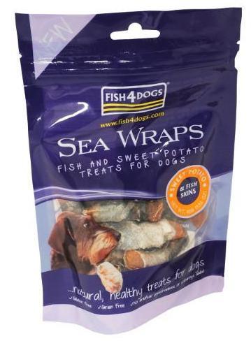 Fish4Dogs Sea Wraps Sweet Potato, Stort utvalg Godbiter og Snacks til Hunder