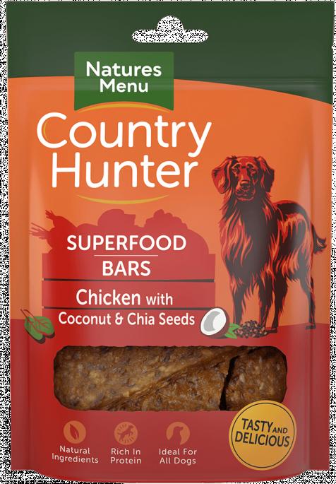 Natures Menu Superfood Bars - Kylling, Kokosnøtt &Chiafrø, Stort utvalg Godbiter og Snacks til Hunder