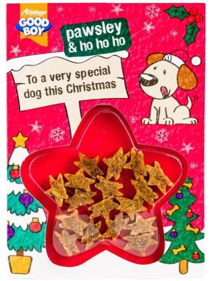 Good Boy Julekort med Kyllinggodbiter, Stort Utvalg Treningsgodbiter til Hund