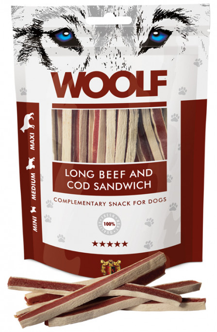 Woolf Lang Sandwich av Biff og Torsk, Stort utvalg Godbiter og Snacks til Hunder
