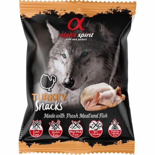 Alpha Spirit Snack Pack  Kalkun, Stort Utvalg Treningsgodbiter til Hund
