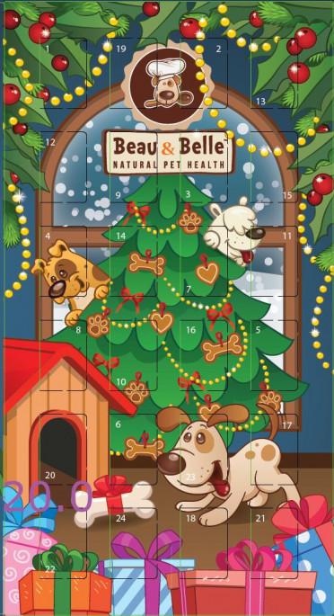 BEAU & BELLE Adventskalender, Stort utvalg Godbiter og Snacks til Hunder